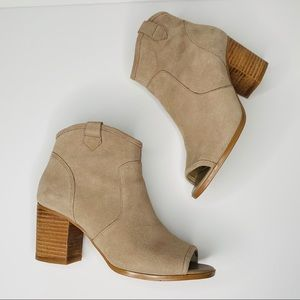 Crown Vintage Frankie Tan Suede Peep Toe Booties 6